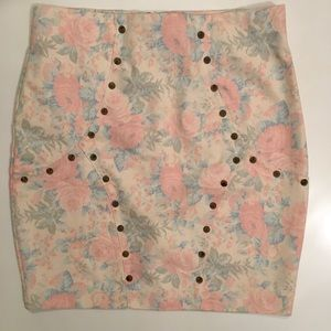 Floral denim studded skirt